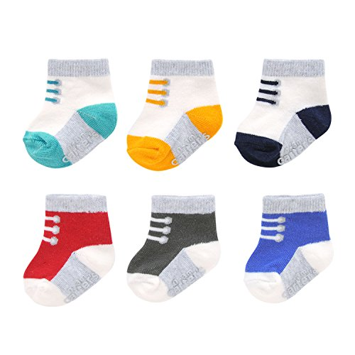 Carter's Baby Boys' Crew Socks (6 Pack), Sneaker-White, Red, Grey, Blue, Teal, 3-12 Months