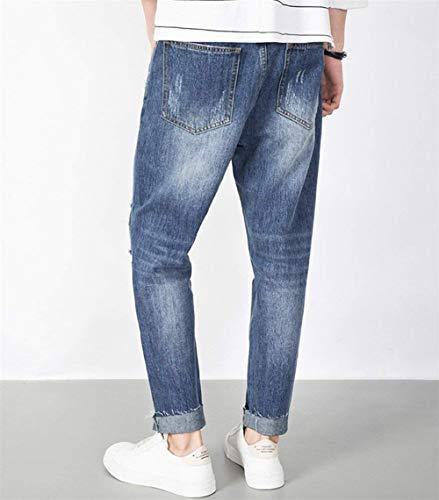 Larghi Denim Comodo Battercake In Jeans Casual Pantaloni Strappati Strappati Alsbild Da Elasticizzato Uomo aWHTXWzx