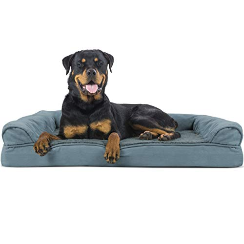 Furhaven Pet Dog Bed | Orthopedic Ultra Plush Faux Fur & Suede Traditional Sofa-Style Living Room Couch Pet Bed w/ Removable Cover for Dogs & Cats, Deep Pool, Jumbo