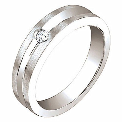 0.06ct TDW White Diamonds 14K White Gold Center Groove Women's Wedding Band (G-H, SI1-SI2) Size-6c2 ()