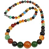 Collier agate, agate mixte, naturel, rond, 6-14mm