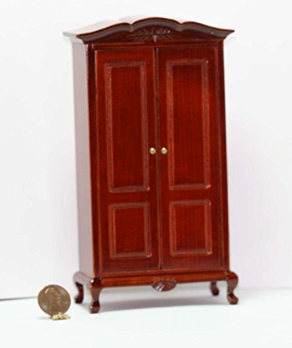 (Dollhouse Miniature Hand Carved Armoire in Cherry Stained Wood )