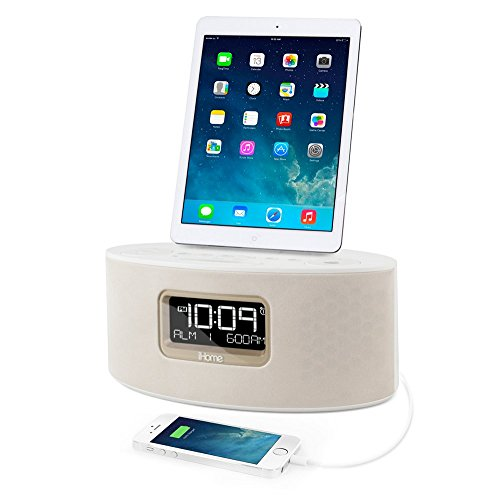 dual charging stereo fm clock radio lightning connector ihome ipad iphone ipod. Black Bedroom Furniture Sets. Home Design Ideas