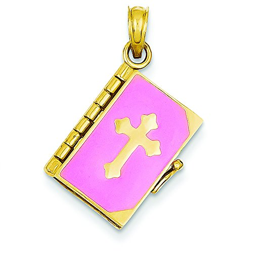 14K Yellow Gold Pink Enameled Lord's Prayer Bible Charm Pendant