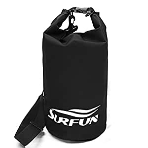 Surfun Durable Waterproof Dry Bag Dry Sack with Shoulder Strap for Camping Kayaking Hiking Boating Rafting Swimming and Floating (Black, 10 Liters)