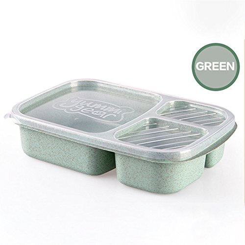 wer3fnmh 3-lattice Lunch Box Leak-Proof Food Container Bento Box Tableware Green 800-1000ml