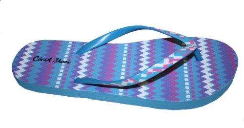 Kvinners Flip-flop Med Fargebånd Og Comportable Fotseng Blå