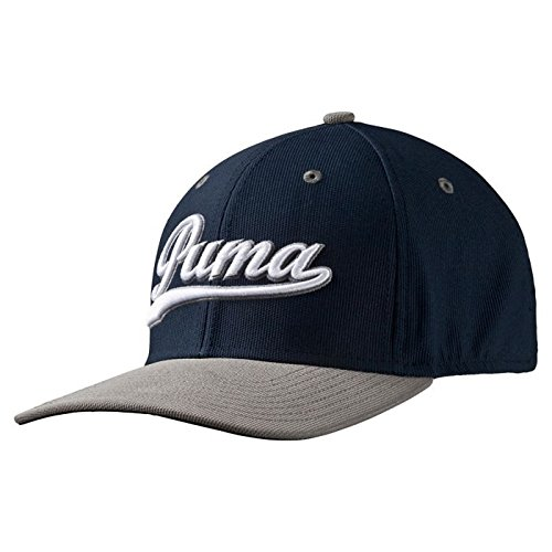 Puma Golf- Script Fitted Cap, Peacoat/Folkstone Gray, Large/X-Large