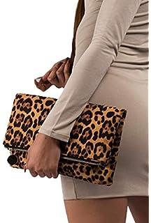 1d5aa658b36c AKIRA Women's Cheetah Leopard Print Zip Top Foldover Casual Clutch Handbag