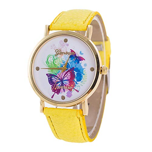 Clearance Sale! Bracelet Watches,Fashion Butterfly Pattern Dial Leather Band Analog Quartz Wrist Watch ()