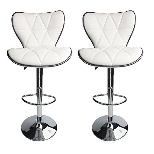 Leopard Shell Back Adjustable Swivel Bar Stools Pu