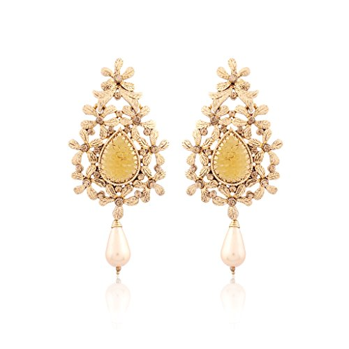 I Jewels Gold Plated Traditional Designer Earrings for Women ED02FL (Gold)