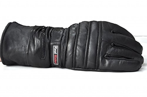 Mens Leather Motorcycle Winter Gloves w/ Rain Cover In Zippered Gauntlet (Small)