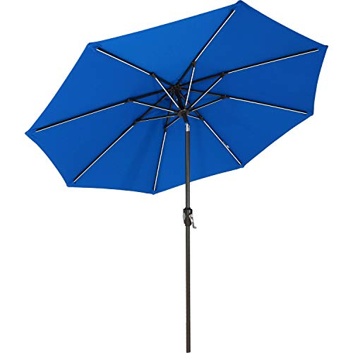 Sunnydaze Solar Sunbrella Patio Umbrella w/Push-Button Tilt and Crank, 9 Foot Market Umbrella with Solar LED Light Bars and Rust Resistant Aluminum, Pacific Blue