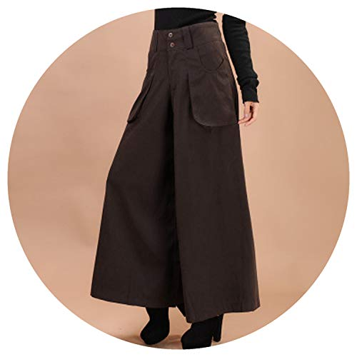 (Wide Leg Pants Winter Pants Leg Wide Thickening Casual Pants Culottes Women,5 Brown Thick,L)