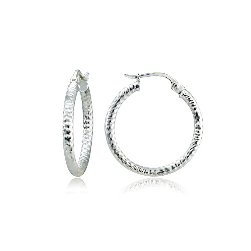 Sterling Silver 2mm Textured Click-Top Round 20mm Hoop Earrings ()