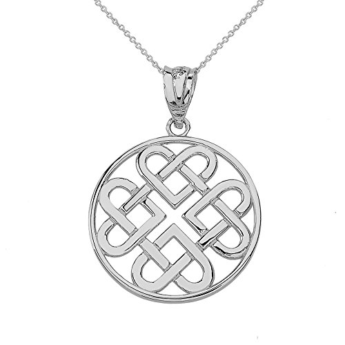 Women's 14k White Gold Endless Celtic Knot Heart Infinity Pendant Necklace, 16