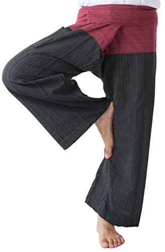 Thai Fisherman Pants Men's Yoga Trousers Red and Black 2 Tone Pant by Memitr