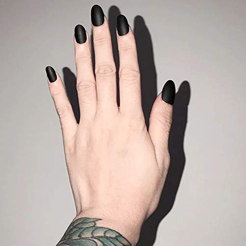 Aegenacess 24Pcs False Nails Short Oval Fake Design Black Matte Press On Gel Nail Acrylic Artificial Manicure Tips French With Double Sided Stickers for Women and -