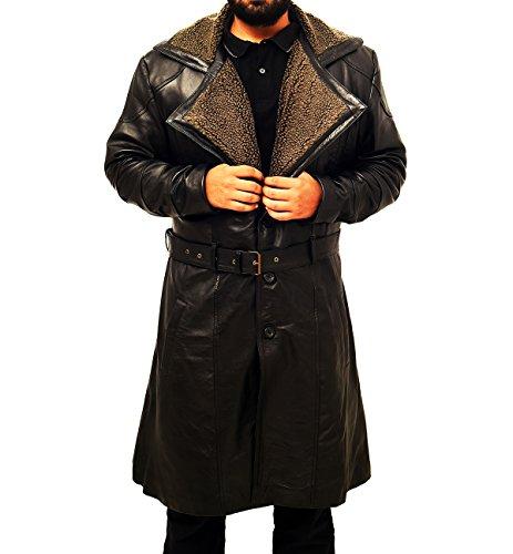 Spazeup Blade Runner 2049 Ryan Gosling (Officer K) Shearling Black Trench Leather Coat Costume