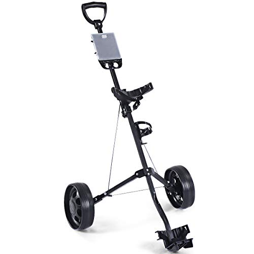 Tangkula Golf Push Cart Foldable 2 Wheel Push Pull Cart Trolley (Small, with Cup Holder)