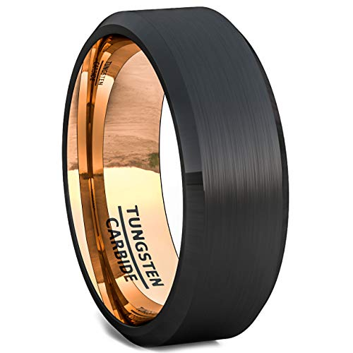 Duke Collections 8mm Two Tone Black Rose Gold Tungsten Ring Matte Brushed Finish Surface Beveled Edge Mens Wedding Band Tungsten Carbide Comfort Fit (9)