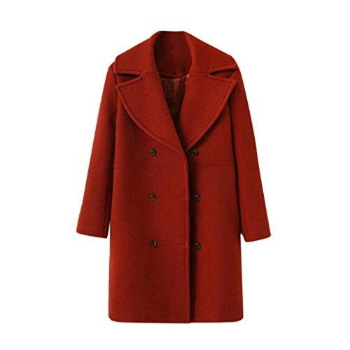 Rojo botón Suelto Moda Mujer de lana cuello traje de de Cálida Manga abrigo Chaqueta doble lana Internet de Invierno botones Larga con 1gcTqq