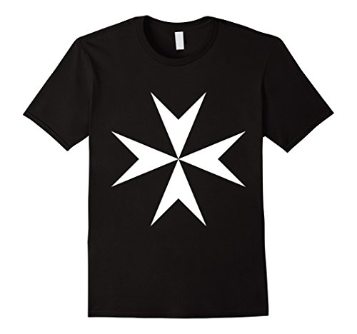 Mens Templar T-Shirt Hospitaller White Cross Flag Medieval Symbol 2XL Black
