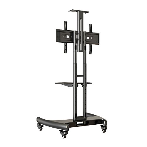 Rocelco VSTC Adjustable Height Mobile TV Stand, for 32-70 inch Flat Screen TVs, with with AV and Webcam Shelf - Black by Rocelco (Image #4)