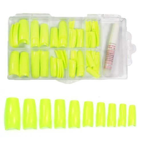 Colored French Nail Tips with Tip Box & Glue (100pcs) - Sharp Yellow CODE: ()