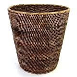 Saffron Trading Company Small Round Waste Basket 11x12''H - Antique Brown