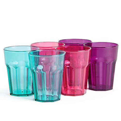- VonShef Set of 6 Plastic Cups | Outdoor Drink Preparation For BBQs, Picnic, Camping | Dishwasher Safe 16oz Shatterproof Cups | 3 Colors