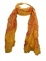Fair Trade Cotton Hand Printed Yellow Ram Nami Scarf