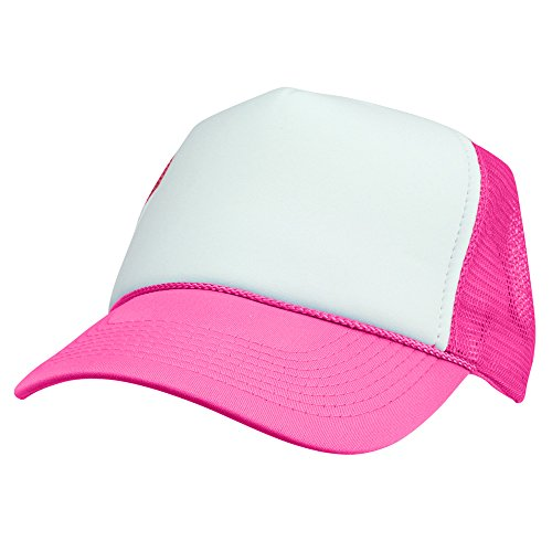 (DALIX Trucker Cap Adjustable Snapback in Neon (Hot Pink and White))