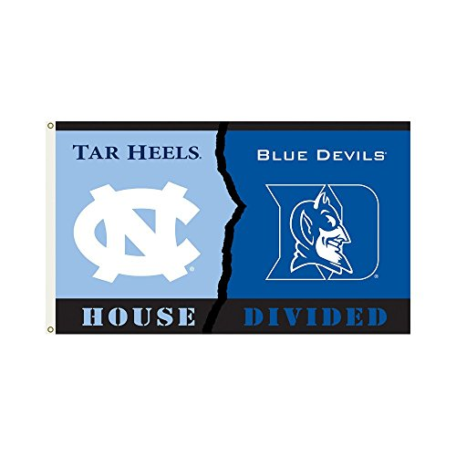 NCAA Duke Blue Devils Rivalry House Divided Grommets Flag, 3 x 5-Feet, Team Color Duke House Divided