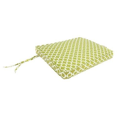 "Outdoor Seat Cushion - Green/White Geometric 21.5""x18.5"""