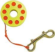 Scuba Choice Diving Compact Finger Spool 65' Dive Reel, Orange Line Ye