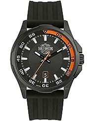 Harley-Davidson Mens Dashboard B&S Watch, Stainless Steel/Silicone Strap 78B140