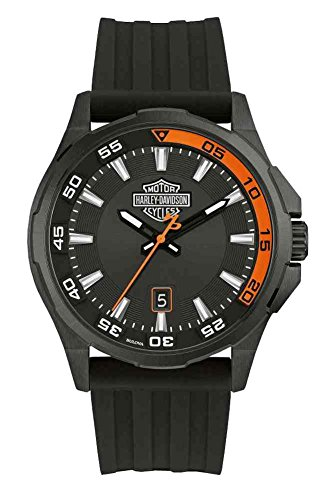 Harley-Davidson Men's Dashboard B&S Watch, Stainless Steel/Silicone Strap 78B140