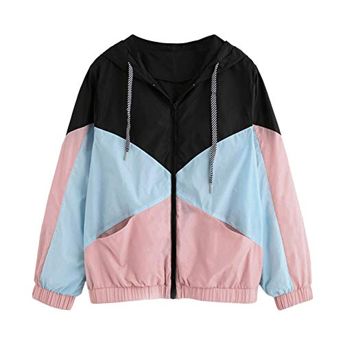 Xinantime Womens Outwear Long Sleeve Patchwork Hooded Zipper Pockets Casual Sport Coat Colorblock Tunic(Pink,S)