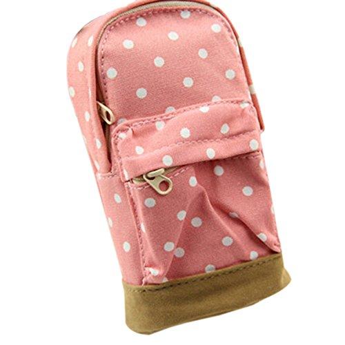 Mini School Bag Pen Case Student's Canvas Pencil Case Children Pen Bag (Pink) by Broadfashion