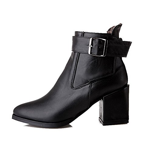 Women's Soft Material Buckle Pointed Closed Toe High Heels Low Top Boots