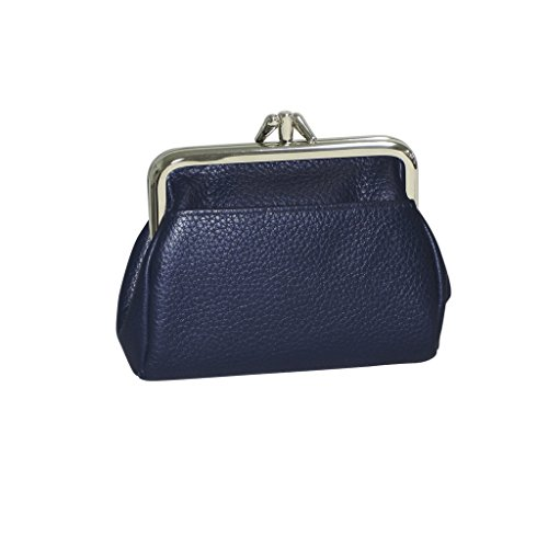 Kiss Lock Wallet (Buxton Womens Leather Triple Frame Coin Purse Credit Card Holder Wallet (Navy))