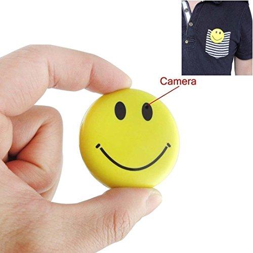 Romhn 8GB New Cute Yellow Color Smile Face Badge Hidden Camera Realtime Mini SD Card DVR Camcorder