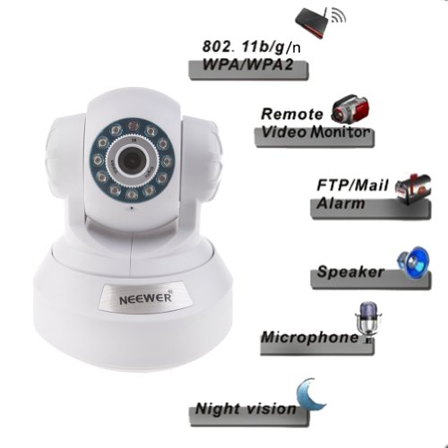 Neewer White P2P Plug & Play High Definition Wireless Pan & Tilt IP Camera, H.264 720P 1 Million Pixels, Surveillance Camera System, Baby Monitor, Pets Monitor, Home Security, Two-Way Audio, Night Vision, Built-in Microphone With Cell Phone Remote Monitor