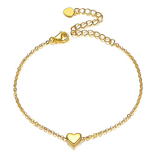 Women Girls Bracelet 18K Gold Plated 925 Sterling Silver Cute Small Heart Love Bracelet Fashion Charm Bracelet