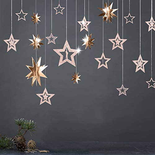 Girls Room Hanging - 3D Champagne Gold Star Garland and Twinkle Little Star Cutout Hanging Decoration Bunting Banner Party Decor for Birthday/Baby Shower/Kids Boys Girls Room/Home/Christmas/New Year/Wedding Party Supply