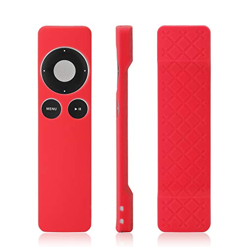 [2-Pack] Silicone Case for Apple TV 2 3 Remote Controller, AKWOX Anti-dust Protective Cover Case,Protect and Cover Your Controller, Hand Strap Included - Rose red
