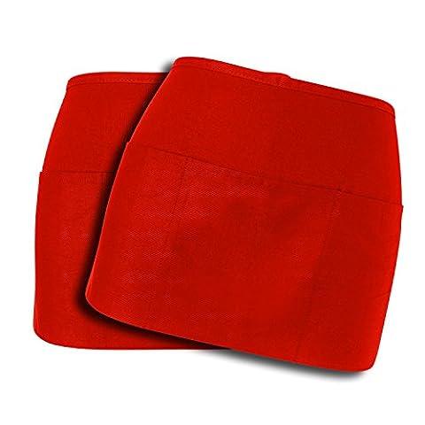 WorkDay Professional 3 Pocket Waist Apron (2 Pack) 100% Premium Cotton - Restaurant Half Aprons, Bartender Apron, Money Apron, Check Holder - Denim Pinstripe Cap