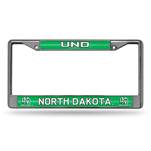 Rico NCAA North Dakota Fighting Hawks Bling Chrome License Plate Frame with Glitter Accent